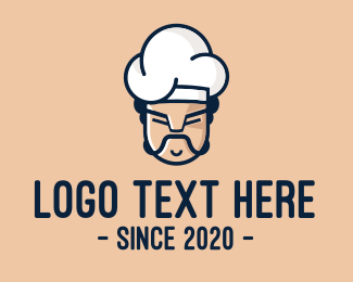 Toque Blanche - Angry Chef Face  logo design