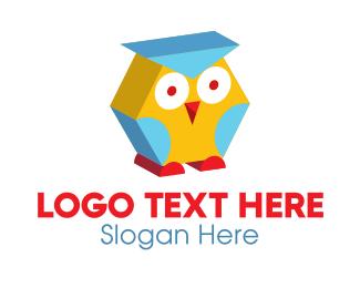 Childrens - 3D Kids Owl  logo design