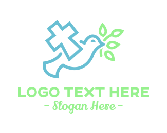 Chapel - Religious Dove Cross  logo design