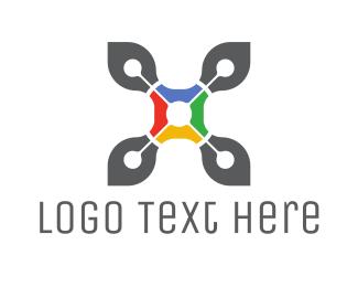 Search Engine - Drone Letter X logo design