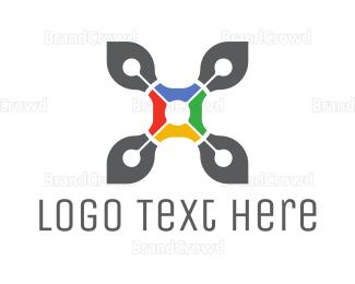 Drone Pilot - Drone Letter X logo design