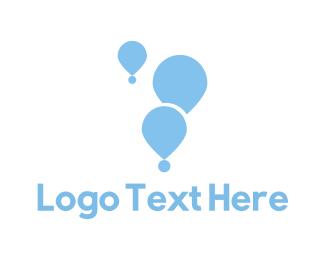 Hot Air Balloon - Blue Balloons logo design