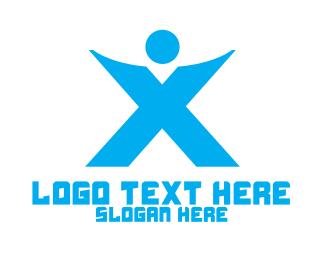 Person - Blue X Person  logo design