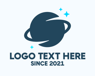 Galactic - Blue Saturn Planet logo design