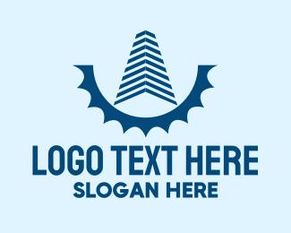 Building Maintenance - Blue Building Gear logo design