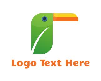 Tropical - Toucan Leaf logo design