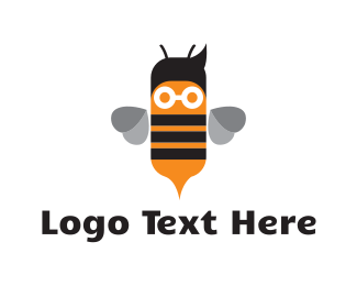 Hive - Cute Nerd Bee logo design