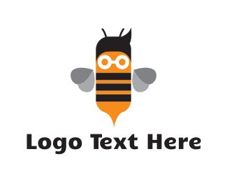 Nerd - Cute Nerd Bee logo design
