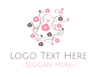 Feminine - Pink & Brown Flowers logo design