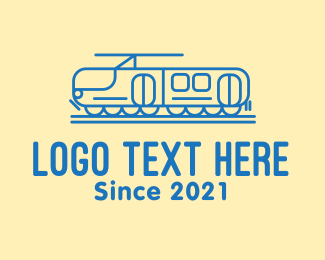 Toy Train - Blue Train Line Art logo design