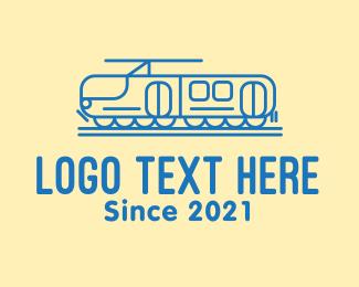 Public Transit - Blue Train Line Art logo design
