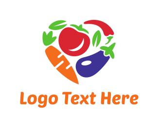 Carrot - Vegetables Heart logo design