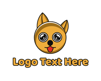 Yellow Puppy - Yellow Circle Dog logo design