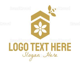 Beehive - Minimalist Golden Honeycomb logo design