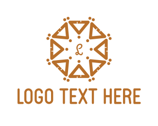 Asian - Round Ocatgon Brown Triangles logo design