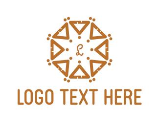 Brown Triangle - Round Ocatgon Brown Triangles logo design