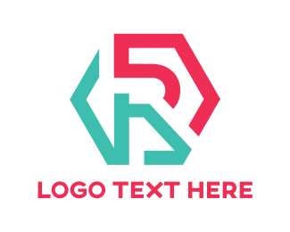 Bar - Hexagon Cyan Pink R logo design