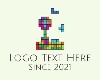 Arcade Machine - Multicolor Tetris Game  logo design