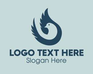 Blue Feather - Blue Pigeon logo design