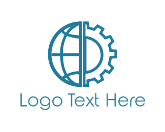 Earthmoving - Global World Cog Gear logo design