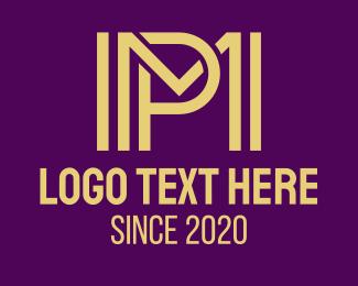 Pm - Modern Yellow MP logo design