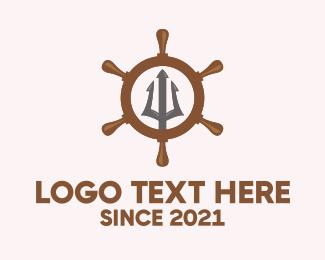 Wheel - Trident Ship Wheel logo design