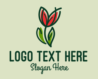 Daffodil - Tulip Flower Monoline  logo design