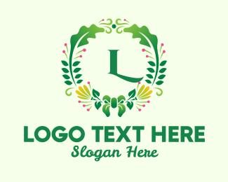 Entourage - Fern Flower Wreath Lettermark logo design