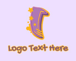 Record Producer - Graffiti Star Letter I logo design