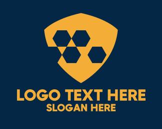 Hacker - Orange Hexagon Shield  logo design