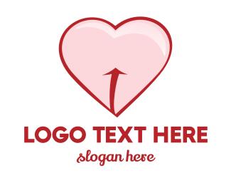 Flirty - Red Pink Heart logo design