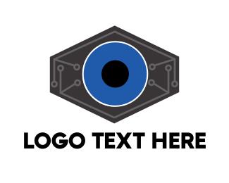 Spy - Robotic Tech Eye logo design