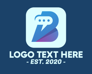 Message Bubble - Messenger App Letter B logo design