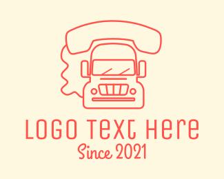 School Bus - Red Mobile Truck logo design