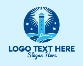 Night - Starry Night Lighthouse logo design