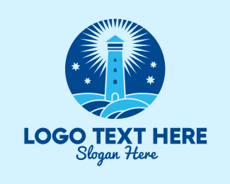 Starry - Starry Night Lighthouse  logo design