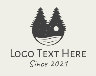 Camping Ground - Evening Pine Trees Lake logo design
