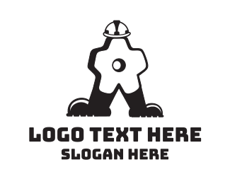 Screw - Gear Man Cartoon logo design