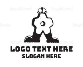 Equipment - Gear Man Cartoon logo design