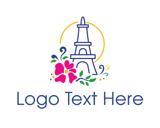 French - Flower Eiffel Tower logo design