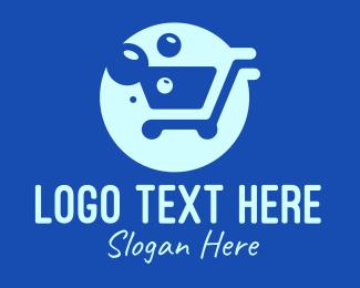 Bubbly - Blue Bubble Shopping Cart logo design