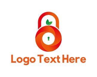 Secret - Orange Padlock logo design