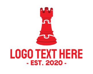 Jigsaw Puzzle - Red Chess Puzzle logo design