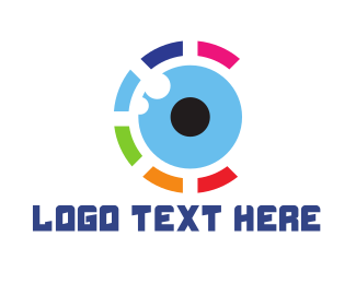 Contact Lens - Colorful Eye Ball logo design