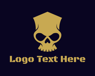 Black And Gold - Golden Skull Bones logo design