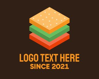 Food Vlogger - 3D Burger Sandwich logo design