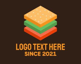 Food Cart - 3D Burger Sandwich logo design