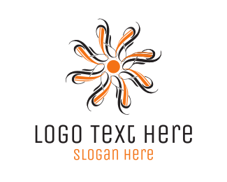 Art - Orange Flower logo design