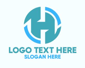 Engineering - Blue Engineering Letter H logo design