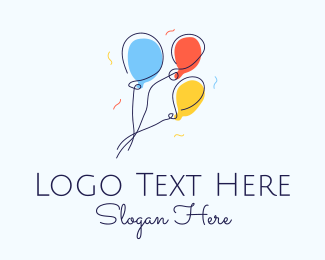 Balloon Store - Colorful Balloon Line Art logo design